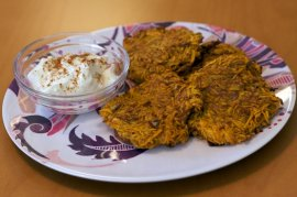 Sweet Potato Latkes on Parade